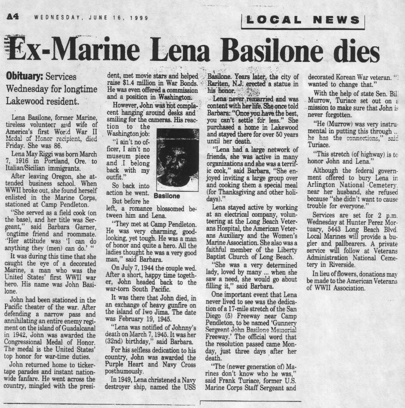 Lena's obituary